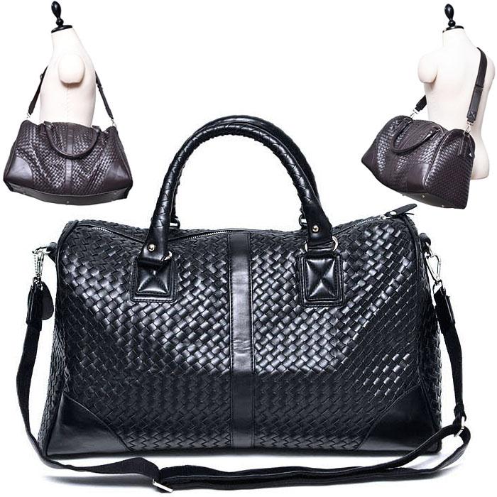 Mid Size Leather Braided Boston Weekender-Bag 177