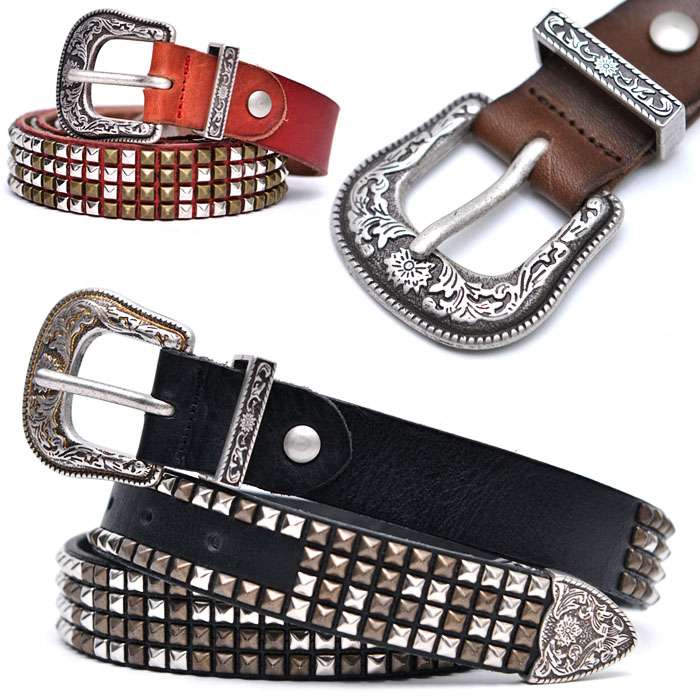 Engraved Western Buckle Stud-Belt 144