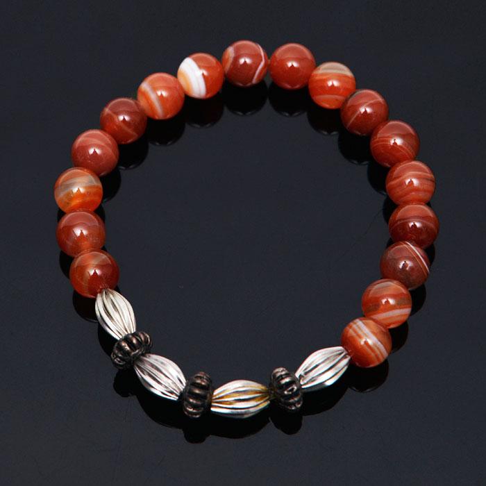 Orange Agate Bead Shell Charm-Bracelet 297