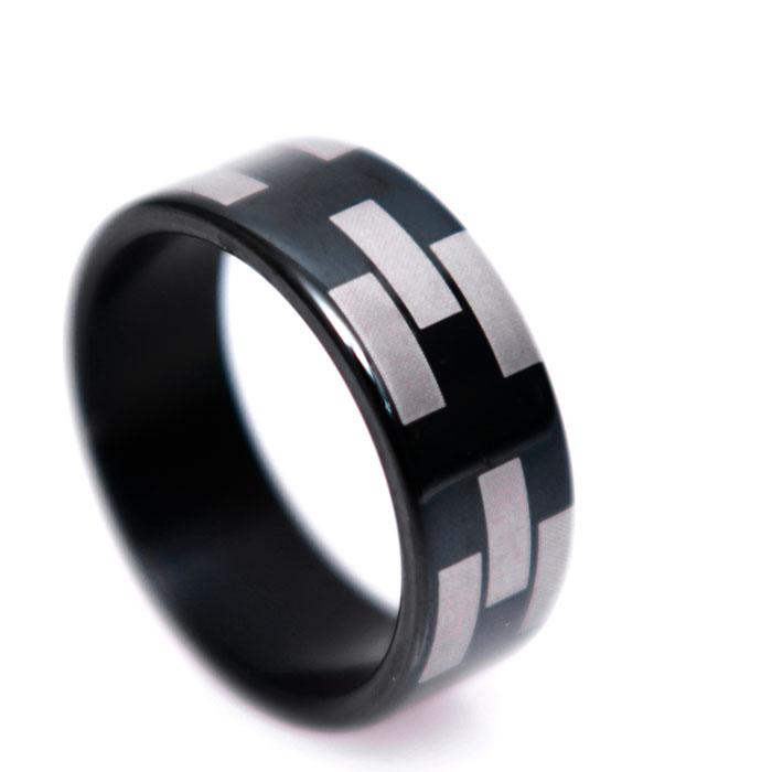 Silver Bricks Black Ring-Ring 60