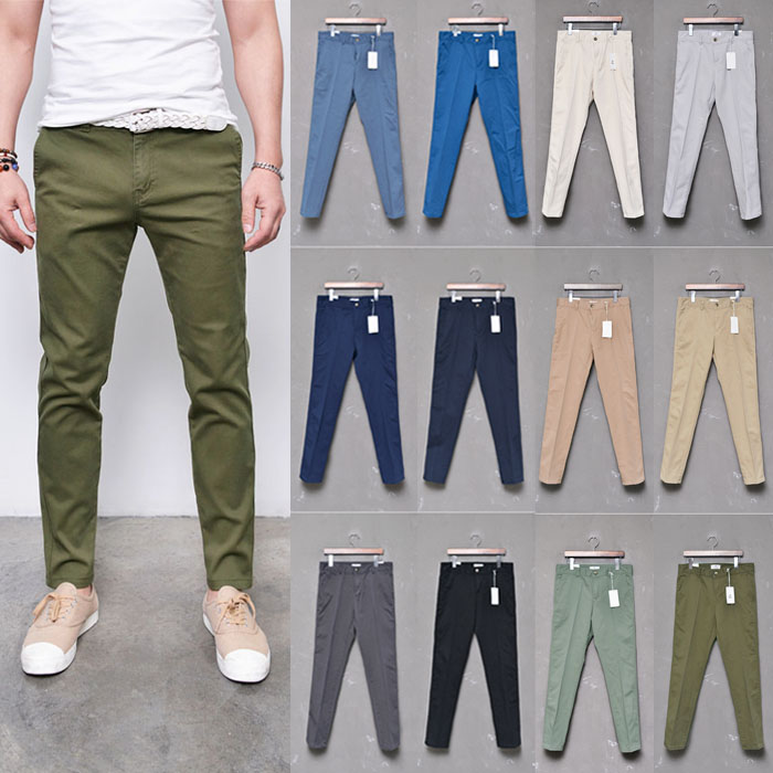 Pre Washed Basic Slim Span Khakis-Pants 218
