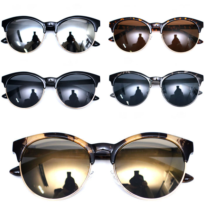 Euro-chic Gold Rim Rounded Eyebrow-Sunglasses 94