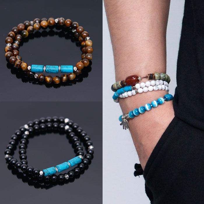 Dual winding Turquoise Beads-Bracelet 344