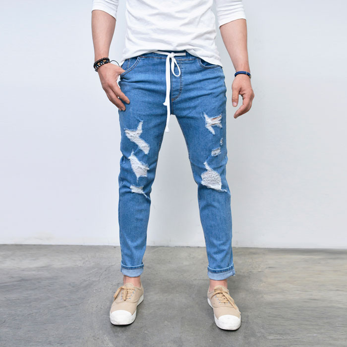 Destroyed Banding Denim Sweatpants-Jeans 306