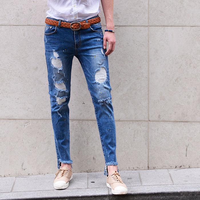 Unbalance Bottom hem Damage Slim-Jeans 308