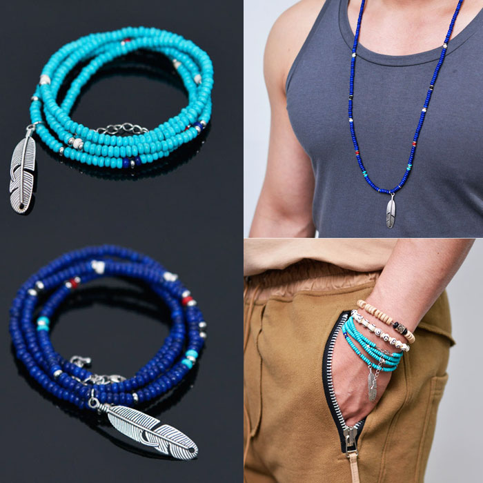 2-way 4 Coils Cuff & Feather Necklace-Necklace 282