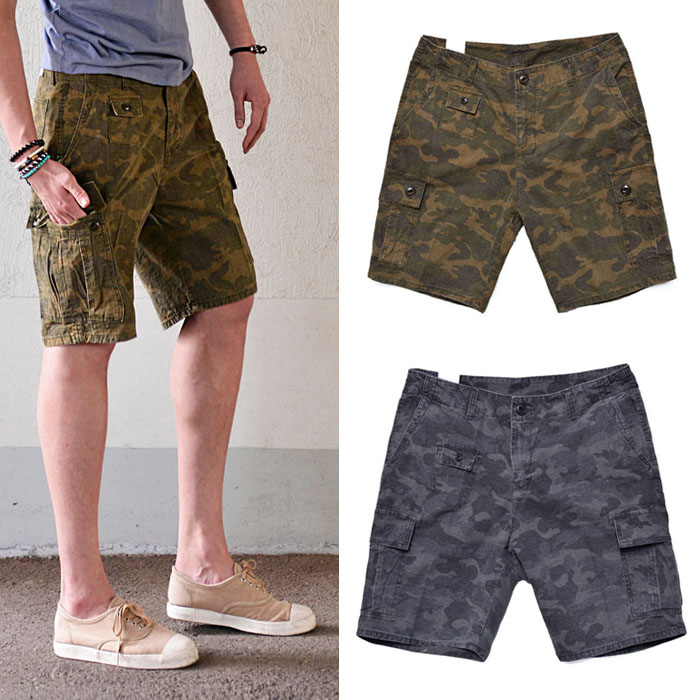 Pre-washed Military Camouflage Cargo-Shorts 121