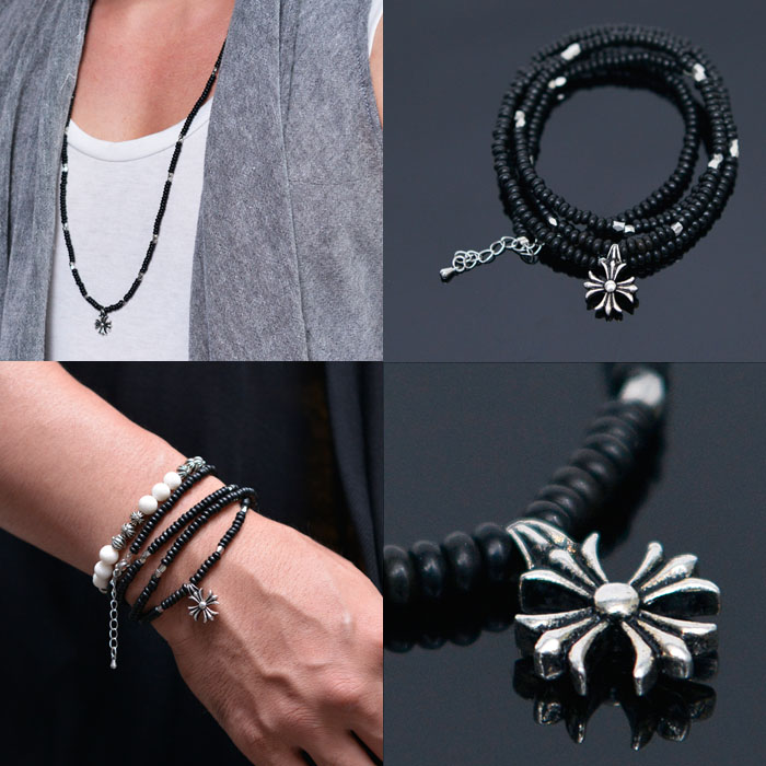 2-way 4 Coils Cuff & Flower Black Beads-Necklace 284