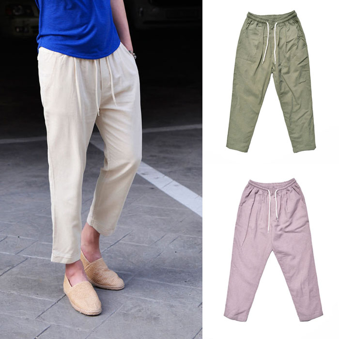 Linen Banding Cropped Turn-up-Pants 238