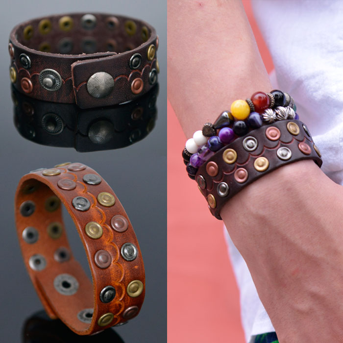 Multi Color Stud Leather Cuff-Bracelet 378