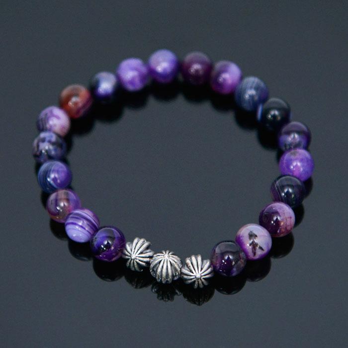 Purple Agate Beads-Bracelet 382