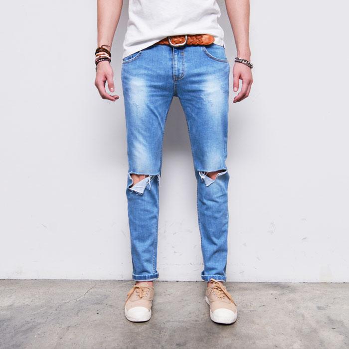Knife Cut Destroyed Knees Slim-Jeans 320