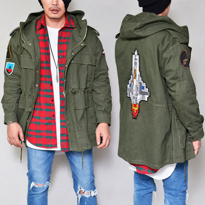 Multi Patch Hooded Military-Jacket 263