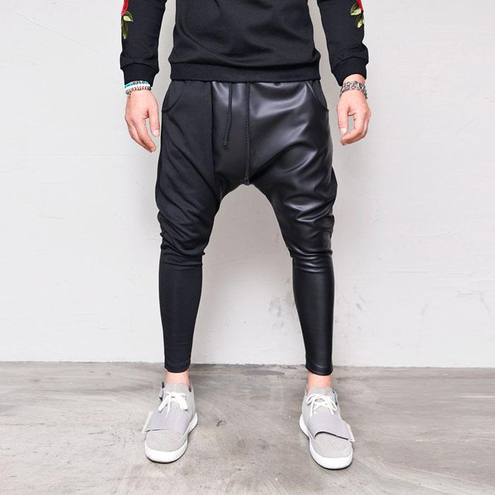 Leather Contrast Slim Baggy-Sweatpants 318