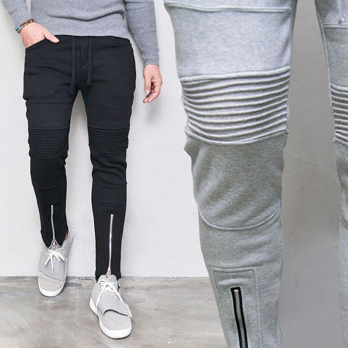 Vertical Zip Seaming Slim Fleece Biker-Sweatpants 321