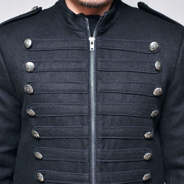 Silver Napoleon Wool Zip Up-Jacket 279