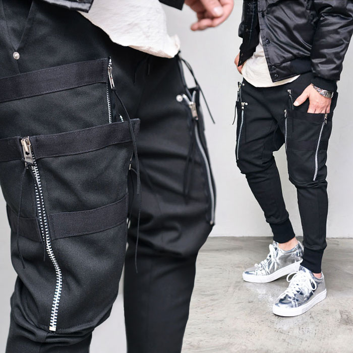 Double Zip Taping Cargo Jogger-Sweatpants 329