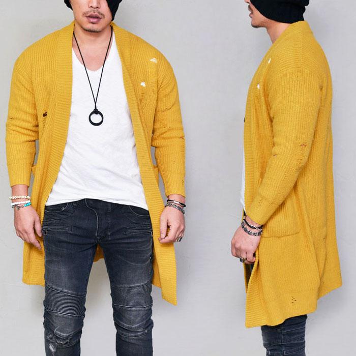 Damaged Mustard Sweater Jacket-Cardigan 210