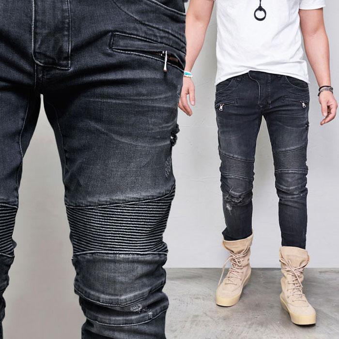 Vintage Seaming Washed Black Biker-Jeans 352