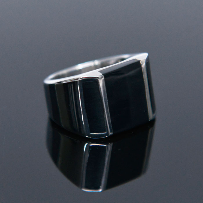 Sleek Square Onix Steel-Ring 72