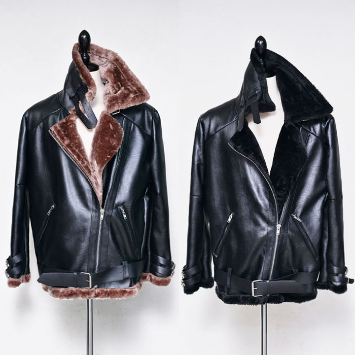 Loose Fit Belted Shearling Leather-Sale 33