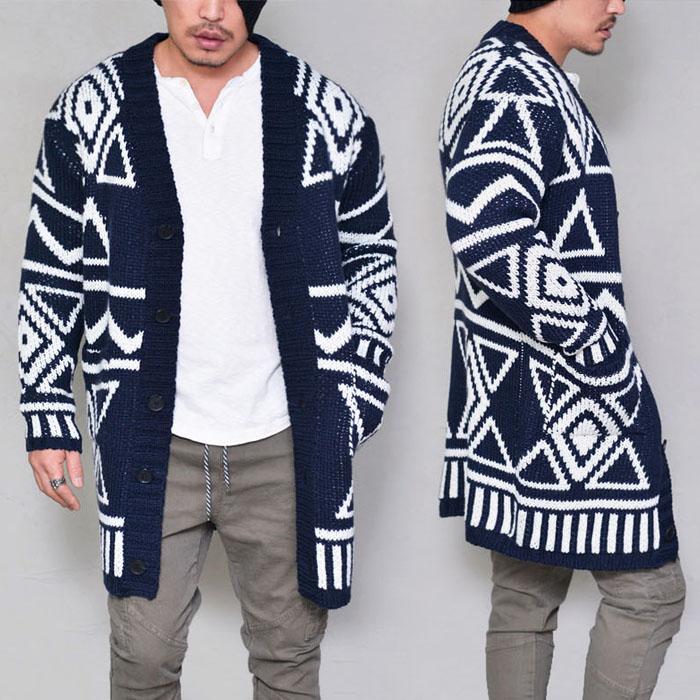 Tribal Pattern Long Sweater-Cardigan 214