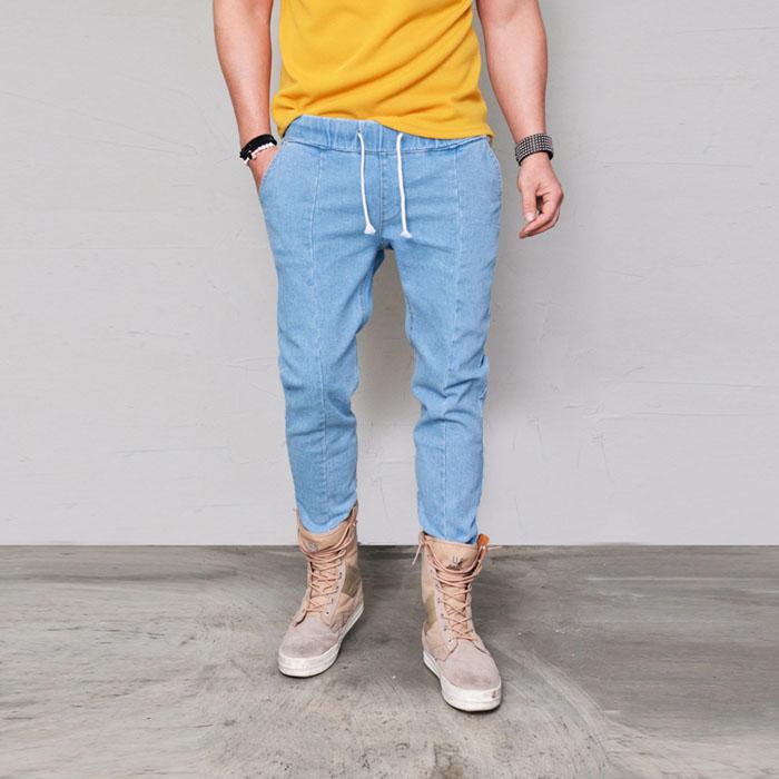 Banding Denim Semi-baggy-Jeans 363