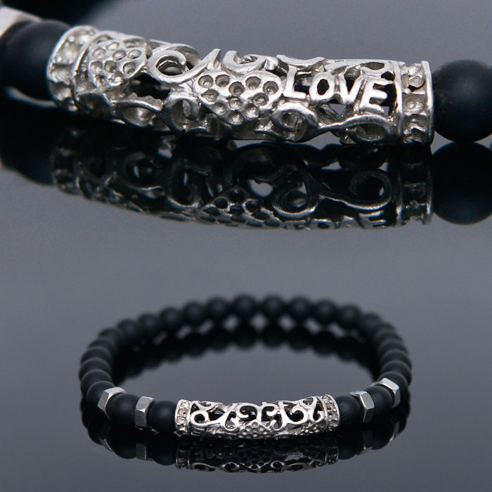 Onix Love Engraved Beads-Bracelet 421