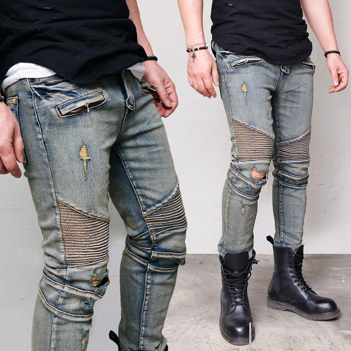 Body-skimming Slim Rusty Biker-Jeans 370