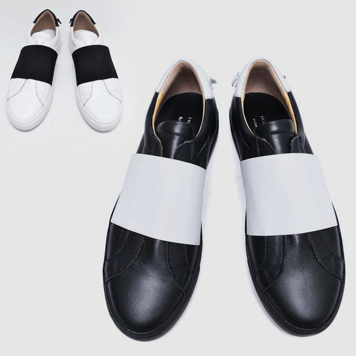 Contrast Banding Leather Slipon-Shoes 633