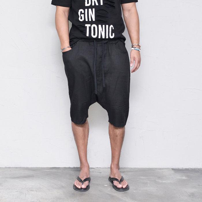 Re) Linen Drop Banding Baggy-Shorts 173