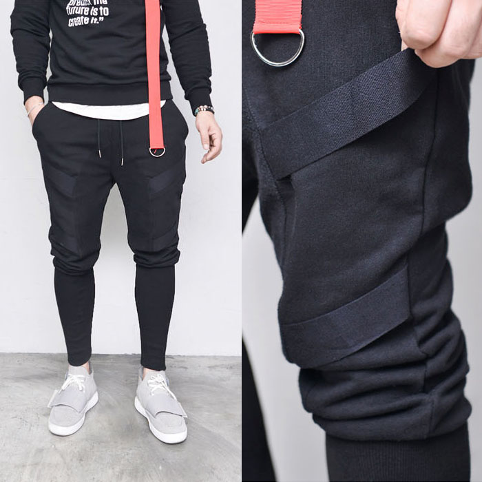 Double Strap Ribbed Semi Baggy -Sweatpants 367
