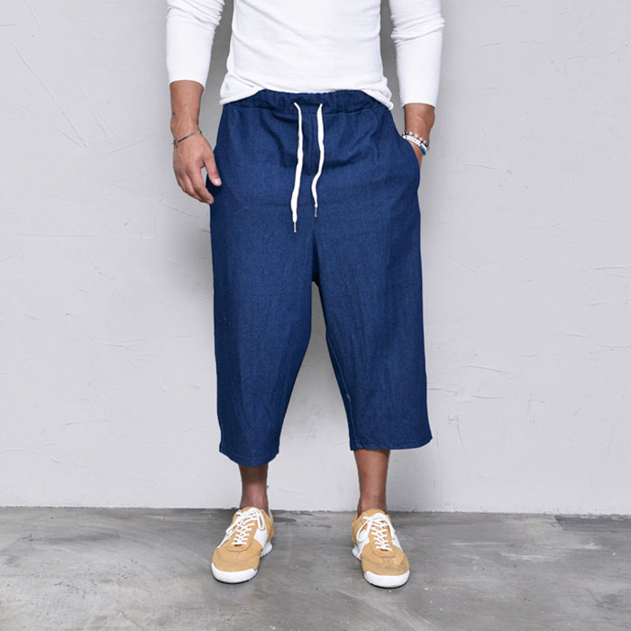 Denim Wide Crop Baggy Banding-Pants 337