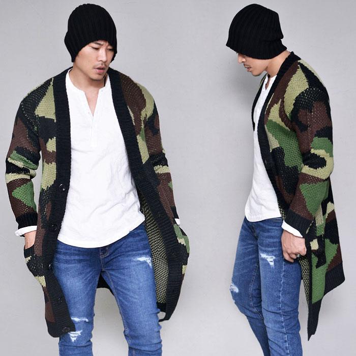 Camouflage Long Sweater-Cardigan 235