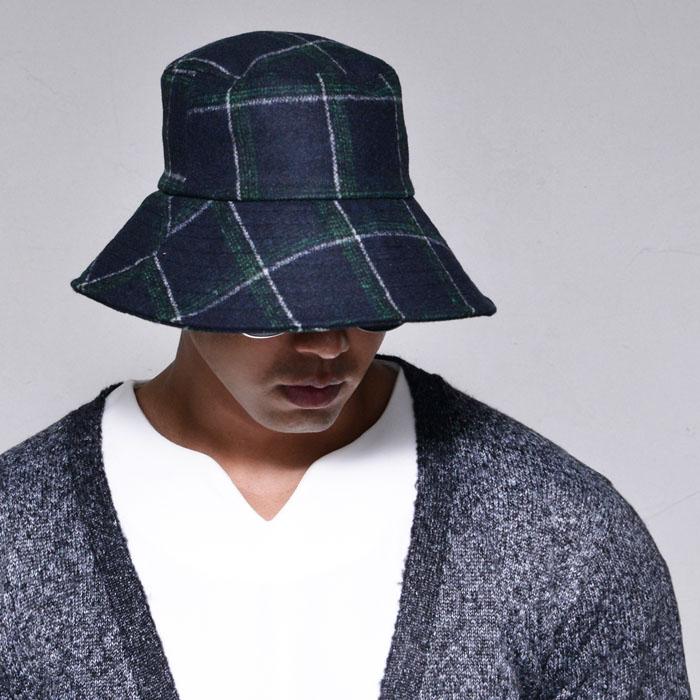 Checkered Woolblend Bucket-Hat 97