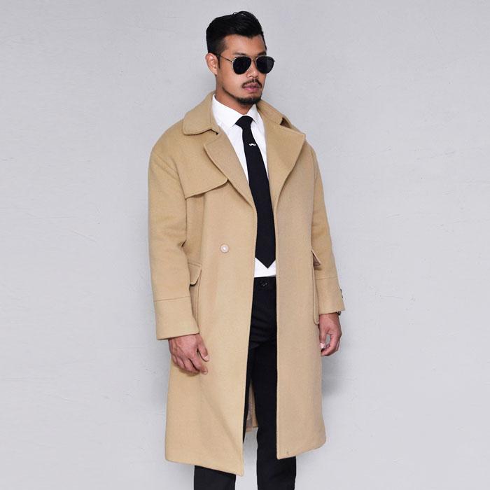 Loose Fit Gun Flap Long Wool-Coat 145
