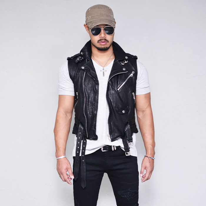 Short Lambskin Biker Vest-Leather 144