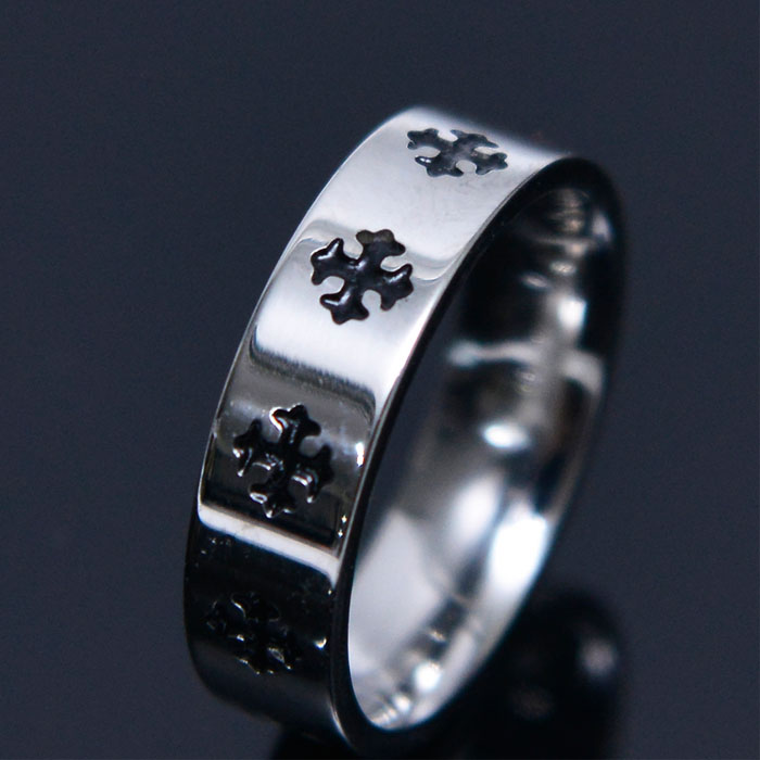 Polished Cross Engraved Ring-Ring 87