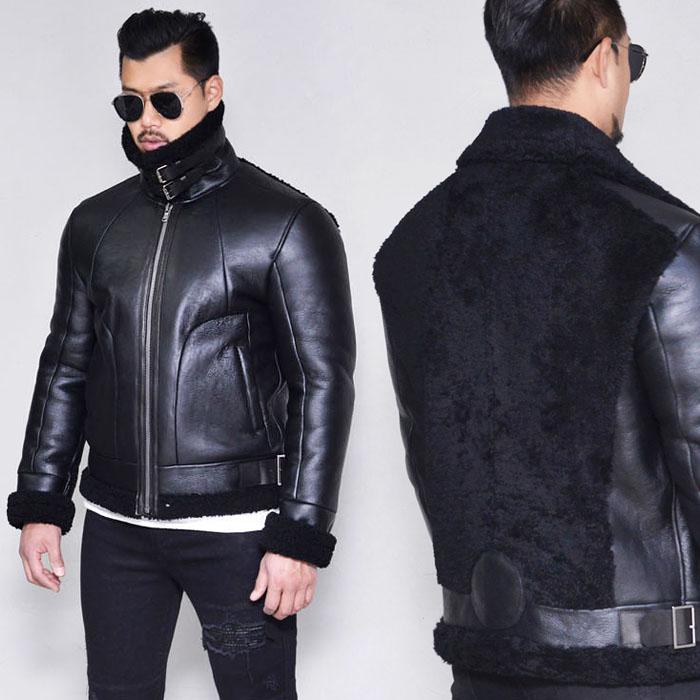 Back Shearling Belted Biker-Leather 148