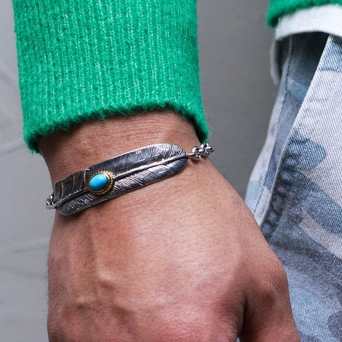 Turquoise Leaf Steel Cuff-Bracelet 465