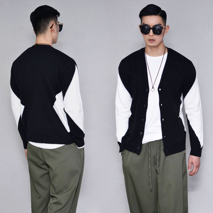Sensuous Contrast Slim Knit-Cardigan 268