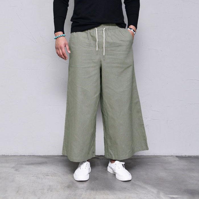 Linen Wide Crop Banding-Pants 419