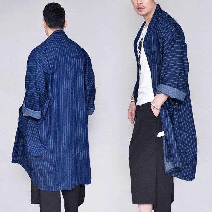 Stripe Denim Coat Cardigan-Cardigan 272