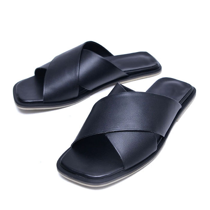 Sleek X Strap Leather Sandals-Shoes 726