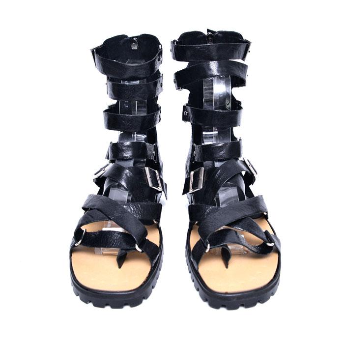 Tough Black Crack Gladiator-Shoes 731