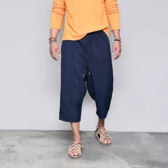 Light Linen Crop Wide Banding-Pants 451