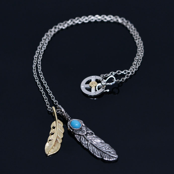 Double Feather Turquoise Chain-Necklace 362