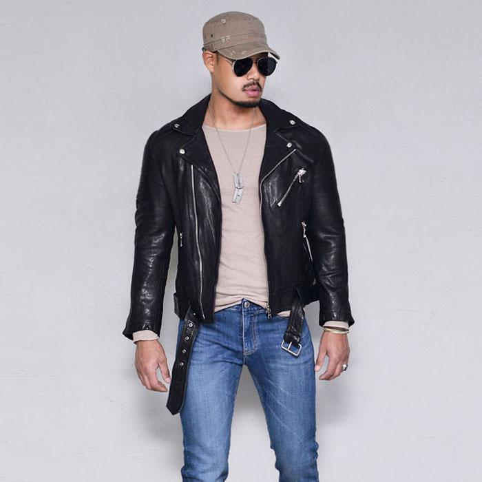 Belted Seaming Lambskin Biker-Leather 164