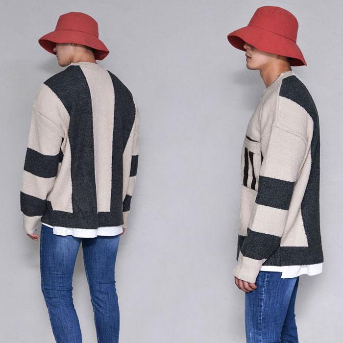 Warm Brushed Wool Stripe Sweater-Knit 235