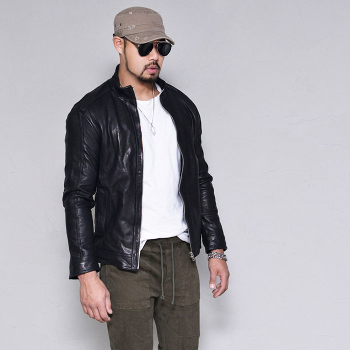 Elbow Seam Slim Lambskin Biker-Leather 166